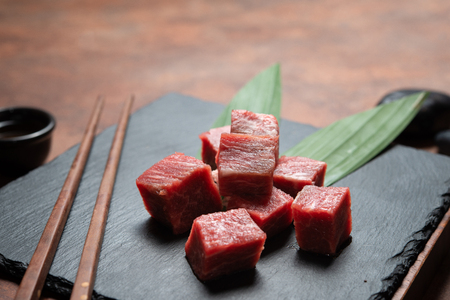 fresh meat beef, raw meat on dish rock
