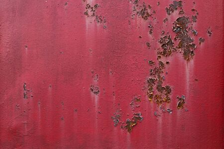 Aged metal plate texture with peeling of surface. Old worn metal background.