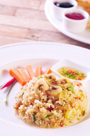 gourami: Fried rice with Gourami Fish Stock Photo