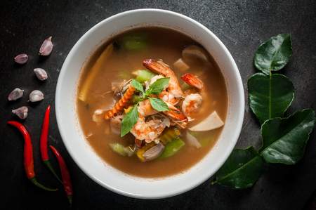 hoary: Thai Spicy Mixed Vegetable Soup with Prawns