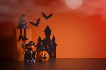 Halloween pumpkins jack-o-lantern on orange background. Halloween pumpkin background. Halloween. jack-o-lantern. Halloween jack-o-lantern. Happy Halloween. Stock Photo