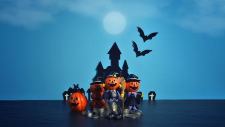 Halloween pumpkins jack-o-lantern with money coin stack growing business on dark blue background. Happy Halloween.