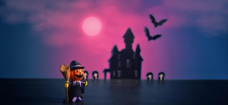 Halloween pumpkins jack-o-lantern on purple background. Halloween pumpkin background.Happy Halloween.