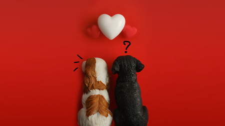 A sulky couple dog with flying hearts on red background with copy space. Symbol of love. Happy Valentines Day background.Saint Valentine's Day concept. Can be used for celebrations valentines day.