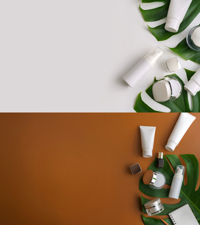 Set of white cosmetic products and green leaves on color background. Natural beauty products for branding mock-up concept.Top view with copy space. Flat lay Foto de archivo