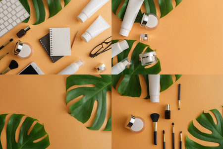 Set of white cosmetic products and green leaves on color background. Natural beauty product for branding mock-up concept.