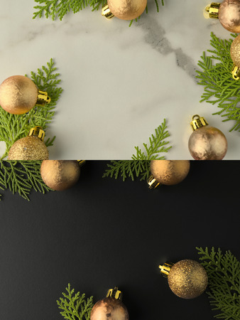 Christmas background template with frame of fir branches and christmas ornament in white marble texture background. Flat lay, top view Foto de archivo - 121399588