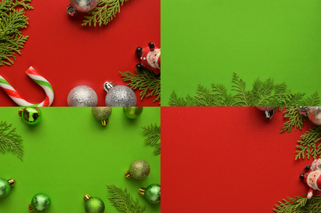 Flat lay, Top view minimal composition background of green decorative Christmas ornaments. New Year and Christmas concept with copyspace. Foto de archivo - 121399590