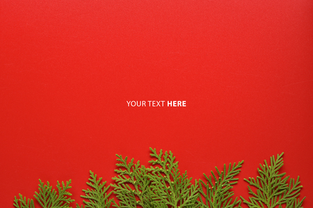 Christmas background template with frame of fir branches in red color background. Flat lay, top view with copy space.
