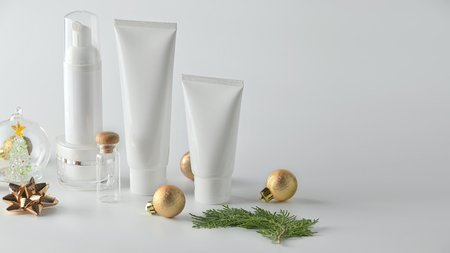 Set of cosmetic products on white background. Cosmetic package collection for cream, soups, foams, shampoo.Natural beauty blank label for branding mock-up concept.