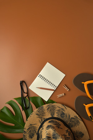 Flat lay, top view workspace with eye glasses, notebook, hat, pencil, green leaf, shoes and coffee cup on brown background. Summer stylish traveller blogger concept. Foto de archivo - 121404144