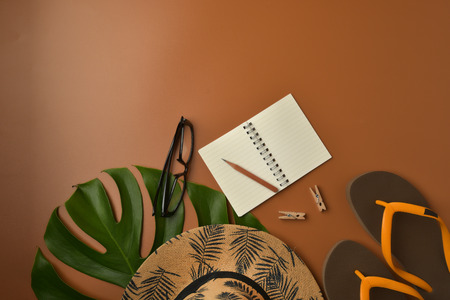 Flat lay, top view workspace with eye glasses, notebook, hat, pencil, green leaf, shoes and coffee cup on brown background. Summer stylish traveller blogger concept. Foto de archivo - 121404145