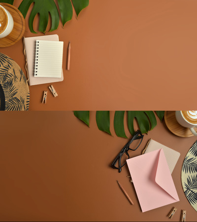 Flat lay, top view workspace with eye glasses, notebook, hat, pencil, green leaf, shoes and coffee cup on brown background. Summer stylish traveller blogger concept. Foto de archivo - 121413042