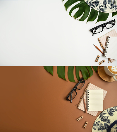 Flat lay, top view workspace with eye glasses, notebook, hat, pencil, green leaf, shoes and coffee cup on white background. Summer stylish traveller blogger concept.