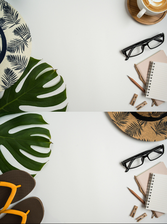 Flat lay, top view workspace with eye glasses, notebook, hat, pencil, green leaf, shoes and coffee cup on white background. Summer stylish traveller blogger concept. Foto de archivo - 121415470