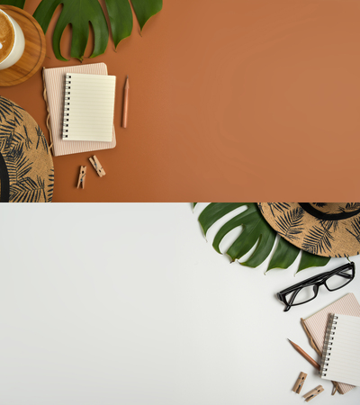 Flat lay, top view workspace with eye glasses, notebook, hat, pencil, green leaf, shoes and coffee cup on brown background. Summer stylish traveller blogger concept. Foto de archivo - 121415472