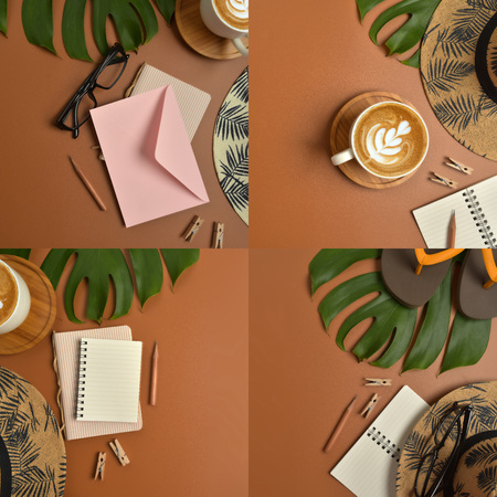 Flat lay, top view workspace with eye glasses, notebook, hat, pencil, green leaf, shoes and coffee cup on brown background. Summer stylish traveller blogger concept. Foto de archivo - 121415476