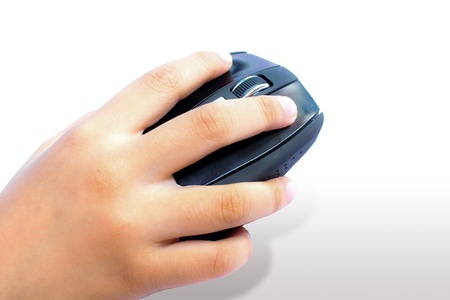 Computer mouse in hand isolated on white photo