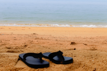 flip-flops on the beach photo