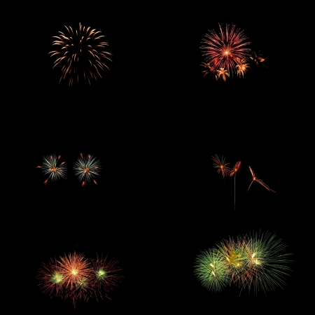 nighty: Large composite of six different fireworks taken during an event in Thailand, isolated on a black nighty background