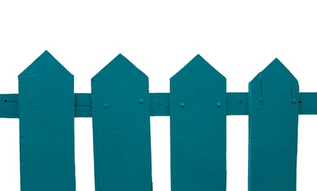Green wooden fence over the white background Stock Photo - 18315344