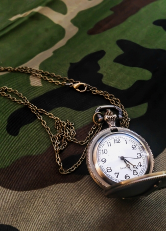 Pocket watch on Military fabric pattern photo