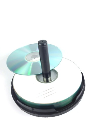 optical disk: CD DVD on white background Stock Photo