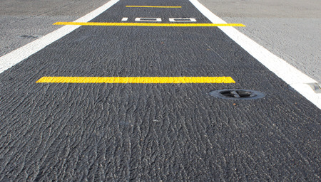 airstrip: road marking on an airstrip  Stock Photo
