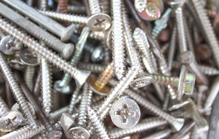 Closeup pile of screw for wood ,nail