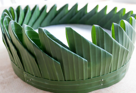 banana leave vessel for the process of folding Krathong