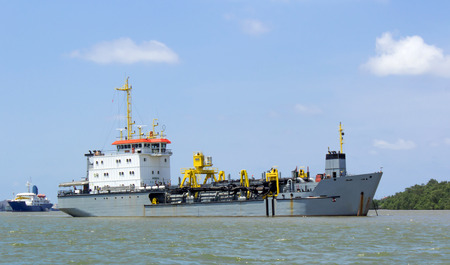 The dredging ship Stationary on the Chao Phraya River photo