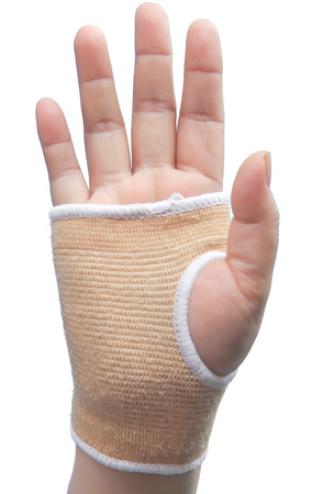 elbow bandage support: Hand with wrist support isolated on white
