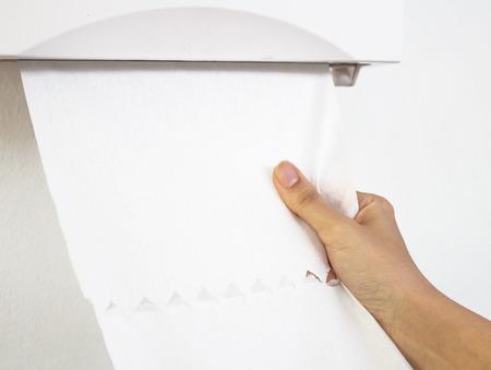 napkin: Mujer Mano tirar tejidos dispensador de toallas de papel en la pared en el cuarto de baño