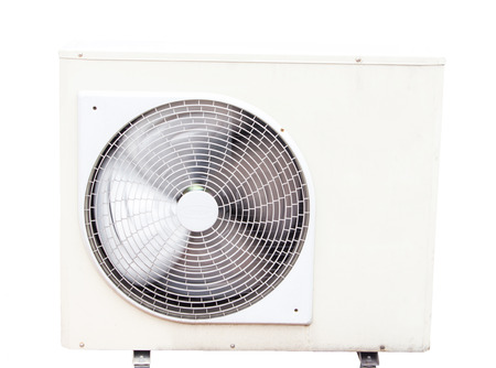 Air compressor on white background. Stock Photo