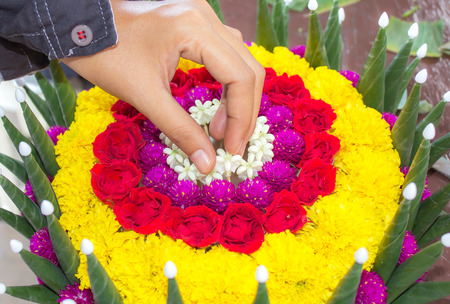 The process Krathong its made with banana leaves and flower for floating tradition in Thailand. photo