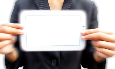 Young person showing white tablet photo