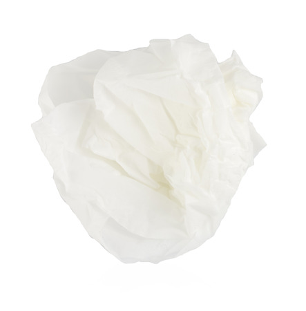 crumpled tissue paper on white background. photo