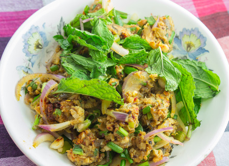 spicy catfish salad is thai food style that savor sour and spicy  photo