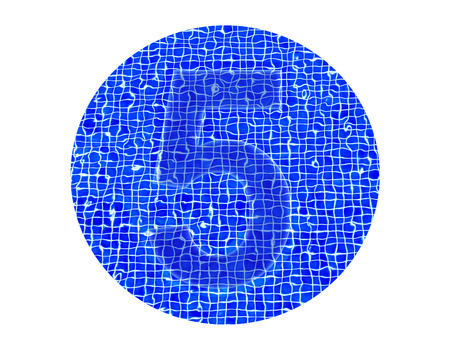 number 5 in water with circle isolated on white background photo