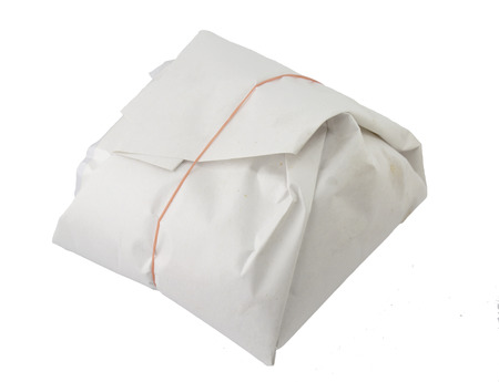 takeout: Rice takeout in easy paper wrap  style thai Stock Photo