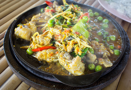 asian redtail catfish: Spicy Fried Stir Catfish,Thai food