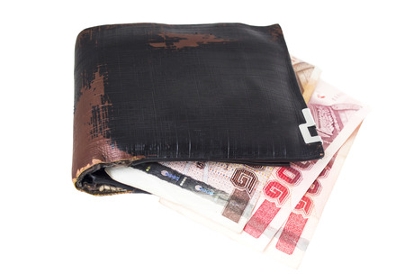 billfold: Wallet and bank notes on white background. Stock Photo