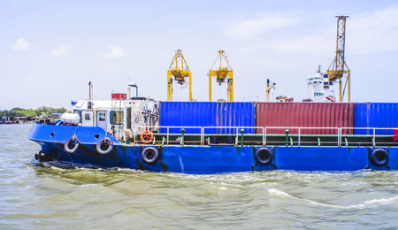 Container Cargo freight  small ship photo