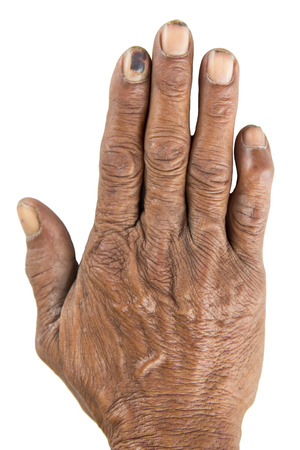 get tired: Old man hand ,hard working hand on white background