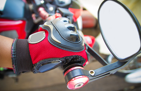 throttle: Hand rider on handlebars, close-up Motorcycle Racing Gloves