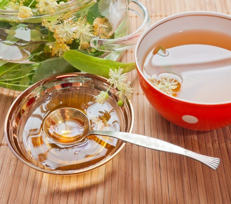 tilia: Still-life with tilia flowers and honey Stock Photo