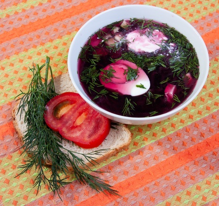 northern european: beetroot soup traditional to some Northern European and Slavic countries. Stock Photo