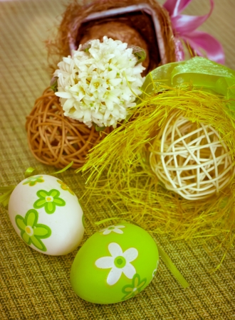 Easter decorative composition with eggs photo
