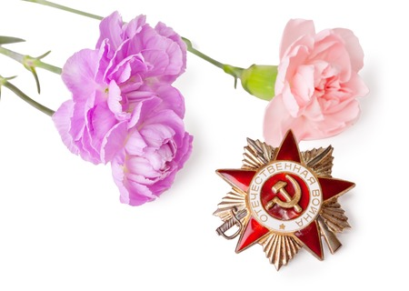 Order of the Patriotic War with carnations on a white background photo