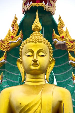 The beautiful lord buddha with king of naga (Pra jao yai sam phob) at Wat Mongkolgowitharam (Wat Huai Wang Nong),Ubonratchathani,Thailand. Stock Photo